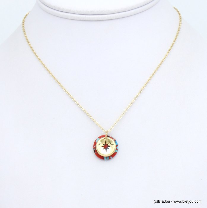 necklace 0119152-12 metal-reconstituted stone