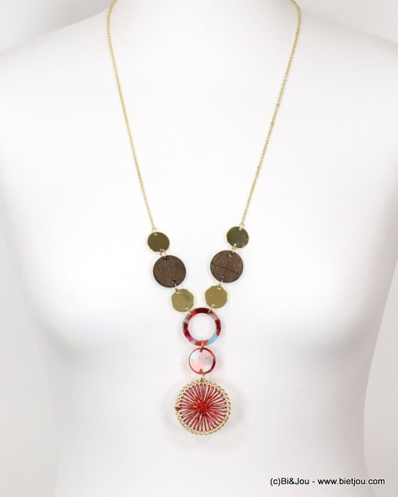 necklace 0119153-12 tortoise shell resin-metal-wood-polyester