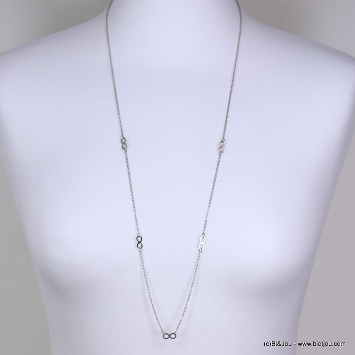 Long necklace 0119156-13 stainless steel, slave link chain, infinity sign pendants