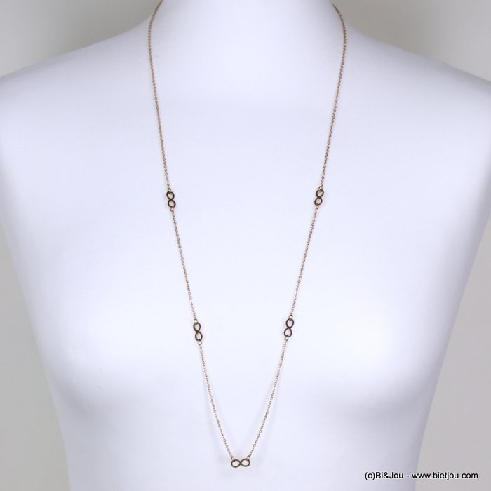 Long necklace 0119156-23 stainless steel, slave link chain, infinity sign pendants
