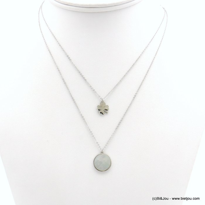 necklace 0119157-13 layered, shell circle pendant, four-leaf clover, slave link chain, stainless steel