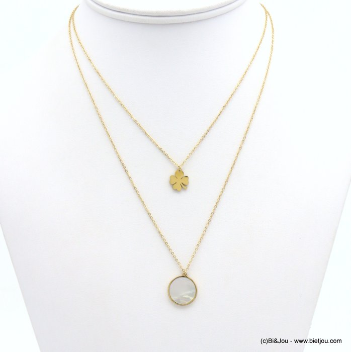 necklace 0119157-14 layered, shell circle pendant, four-leaf clover, slave link chain, stainless steel
