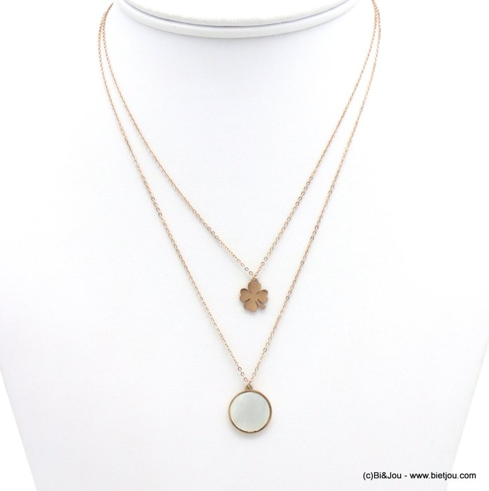 necklace 0119157-23 layered, shell circle pendant, four-leaf clover, slave link chain, stainless steel