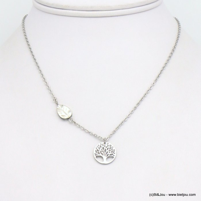necklace 0119164-13 tree of life pendant, shell leaf piece, slave link chain, stainless steel