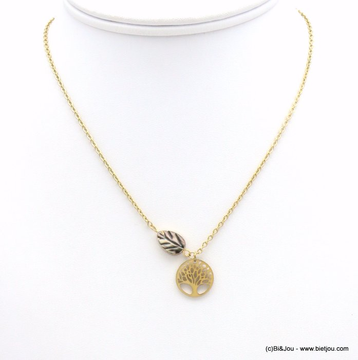 necklace 0119164-14 tree of life pendant, shell leaf piece, slave link chain, stainless steel