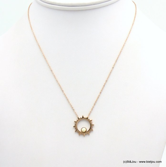 necklace 0119165-23 sun pendant, matte pearl, slave link chain, stainless steel