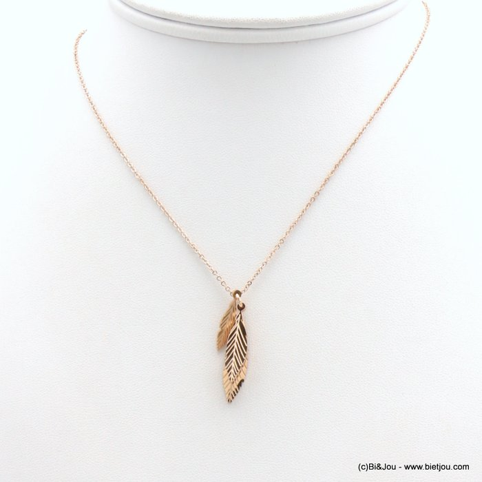 necklace 0119167-23 stainless steel, slave link chain, feathers pendant