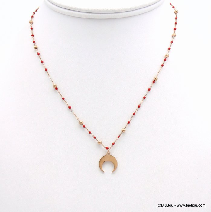 necklace 0119169-12 half-moon pendant, colorful ball bearing, metallic pearls, slave link chain, stainless steel