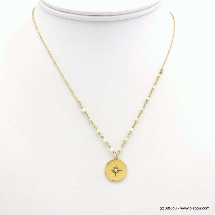 necklace 0119170-19 stainless steel slave link chain, beads, northern star engraved in a round medallion