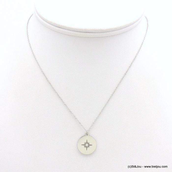 necklace 0119171-13 stainless steel, slave link chain, Pole Star pendant, openwork, strass