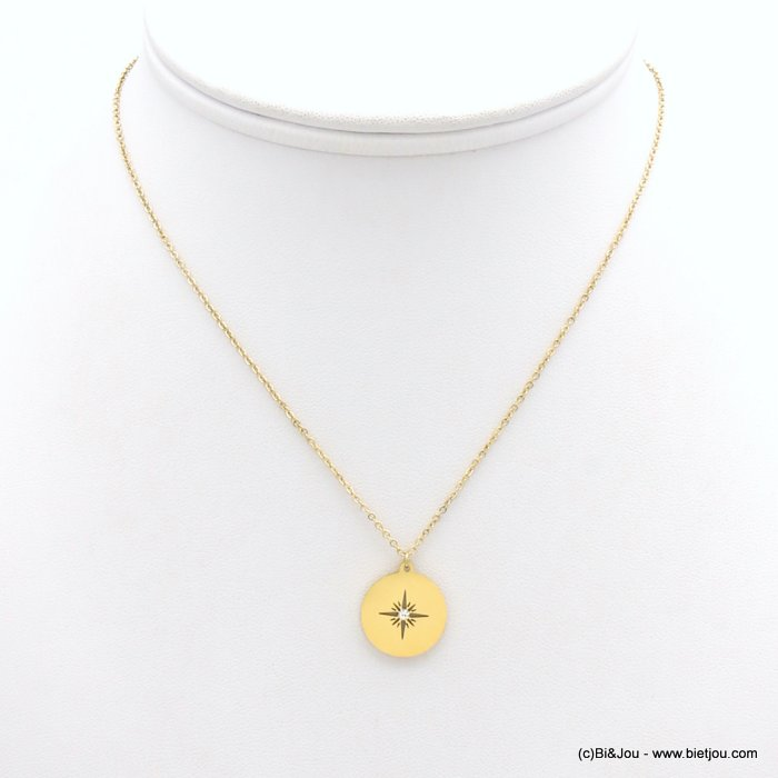 necklace 0119171-14 stainless steel, slave link chain, Pole Star pendant, openwork, strass