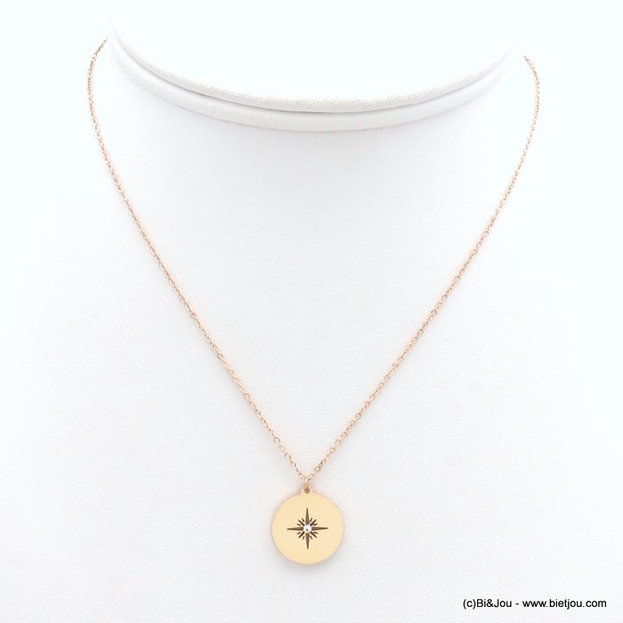 necklace 0119171-23 stainless steel, slave link chain, Pole Star pendant, openwork, strass