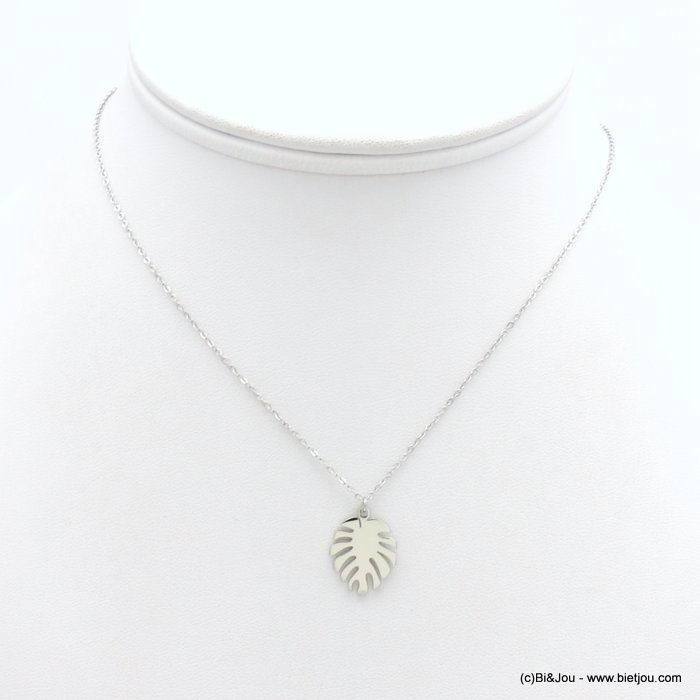 necklace 0119172-13 stainless steel, slave link chain, monstera leaf pendant