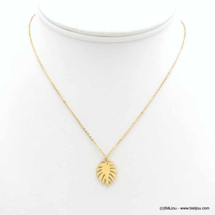 necklace 0119172-14 stainless steel, slave link chain, monstera leaf pendant