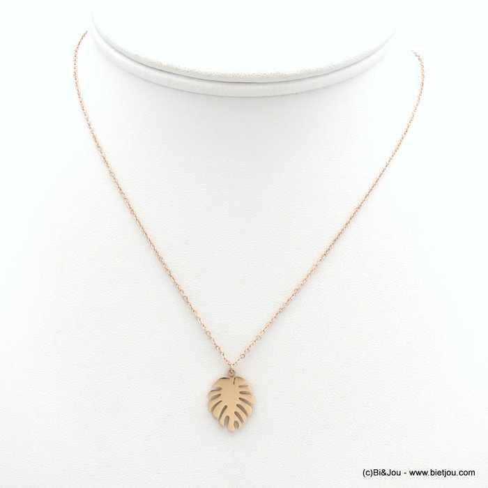 necklace 0119172-23 stainless steel, slave link chain, monstera leaf pendant