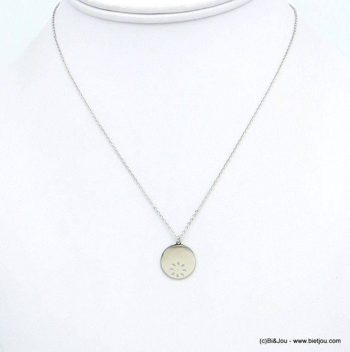 Necklace 0119174-13 medal with engraved flower, stainless steel