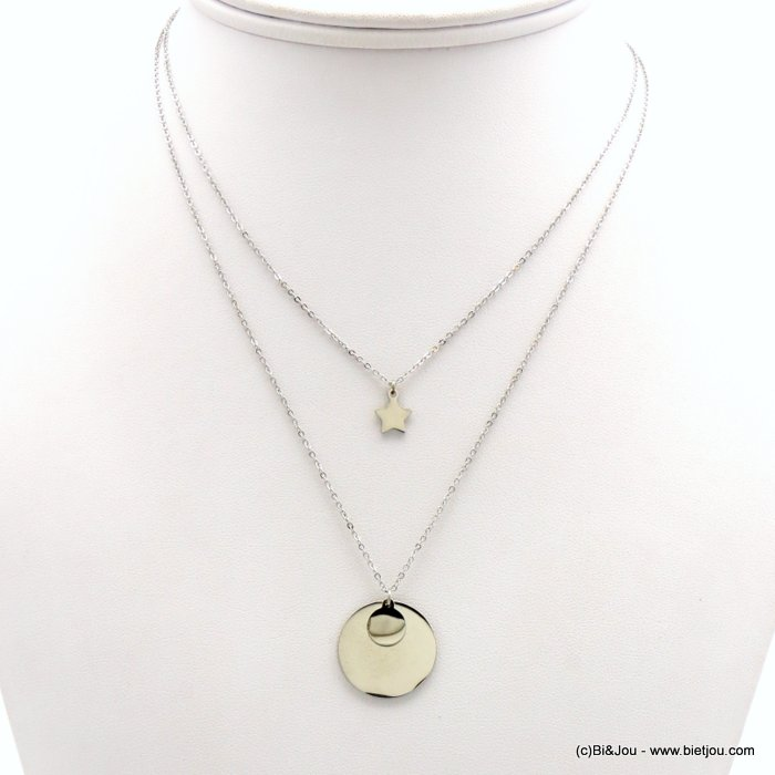 layering necklace 0119175-13 stainless steel, slave link chain, star coin pendant