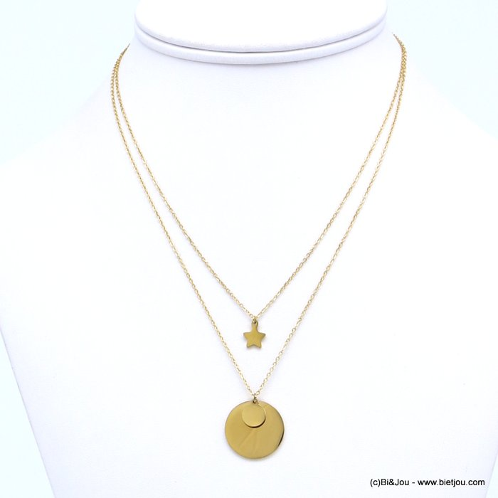layering necklace 0119175-14 stainless steel, slave link chain, star pendant, golden medallions