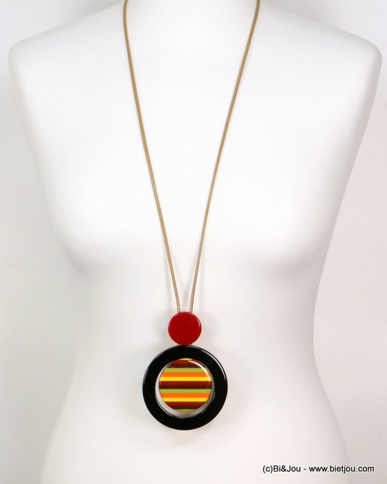 long necklace 0119178-12 sautoir stripe coloured resin geometric pendant vintage woman waxed cotton cord