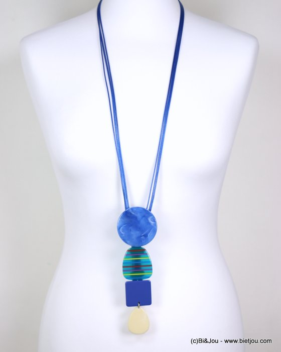 long necklace 0119179-08 sautoir stripe coloured resin geometric pendant vintage woman waxed cotton cord