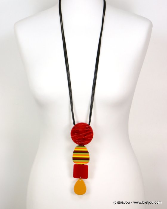 long necklace 0119179-12 sautoir stripe coloured resin geometric pendant vintage woman waxed cotton cord