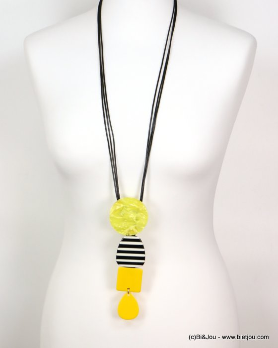 long necklace 0119179-43 sautoir stripe coloured resin geometric pendant vintage woman waxed cotton cord