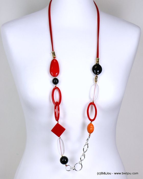 long necklace 0119182-12 woman, geometrics pendants, colored resin, metallic rings, waxed cotton cord