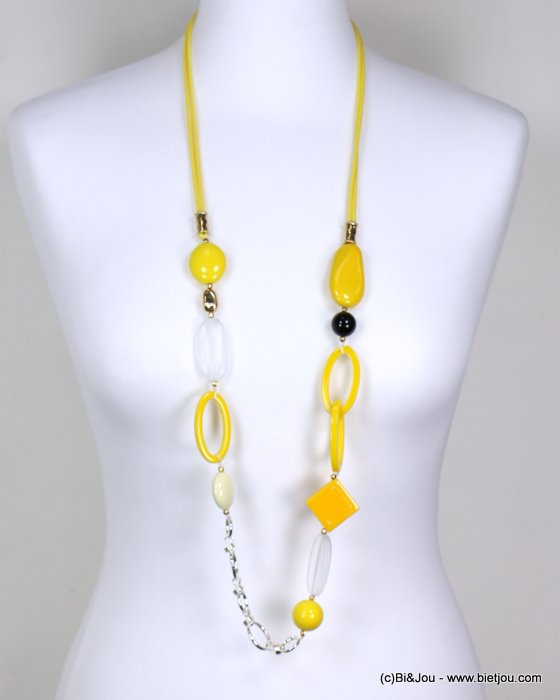long necklace 0119182-43 woman, geometrics pendants, colored resin, metallic rings, waxed cotton cord