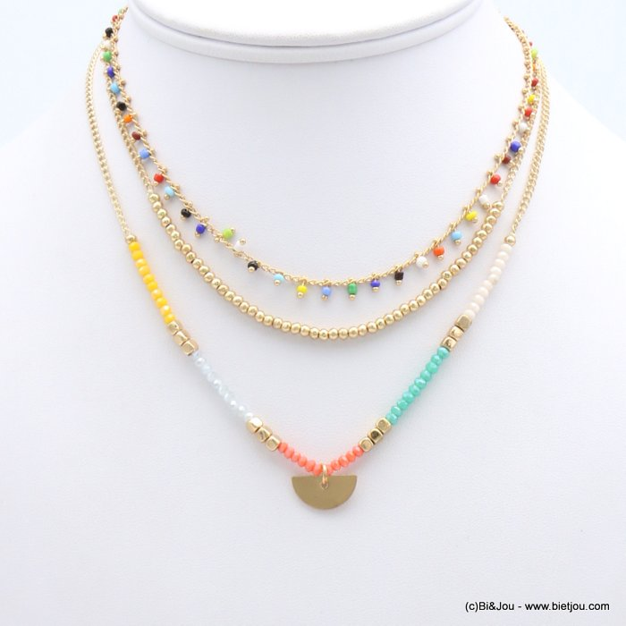 necklace 0119183-99 multi-rows layered metal half-moon pendant crystal curb chain