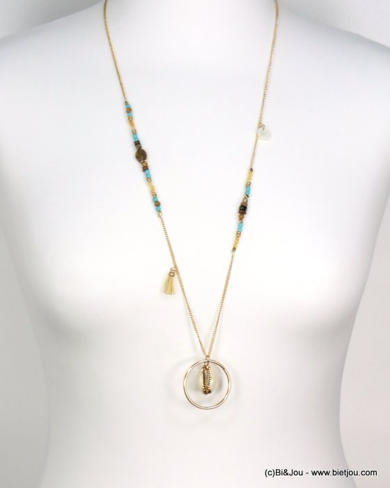 long necklace 0119185-17 tassel polyester-shell-metal-crystal--reconstituted stone
