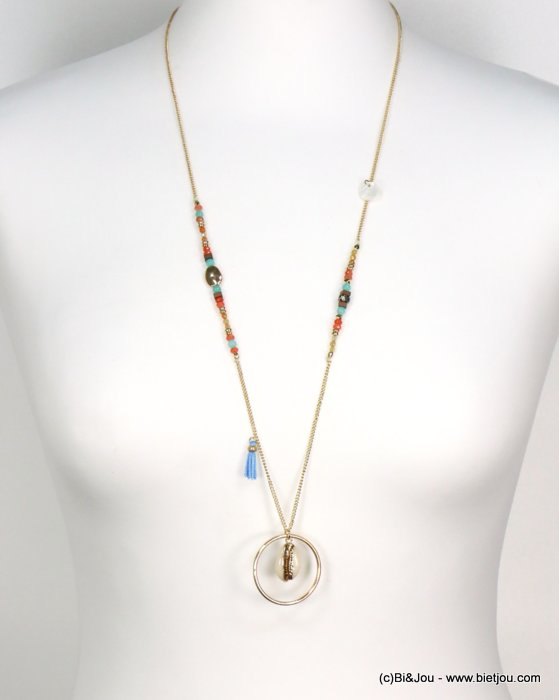 long necklace 0119185-99 tassel polyester-shell-metal-crystal--reconstituted stone