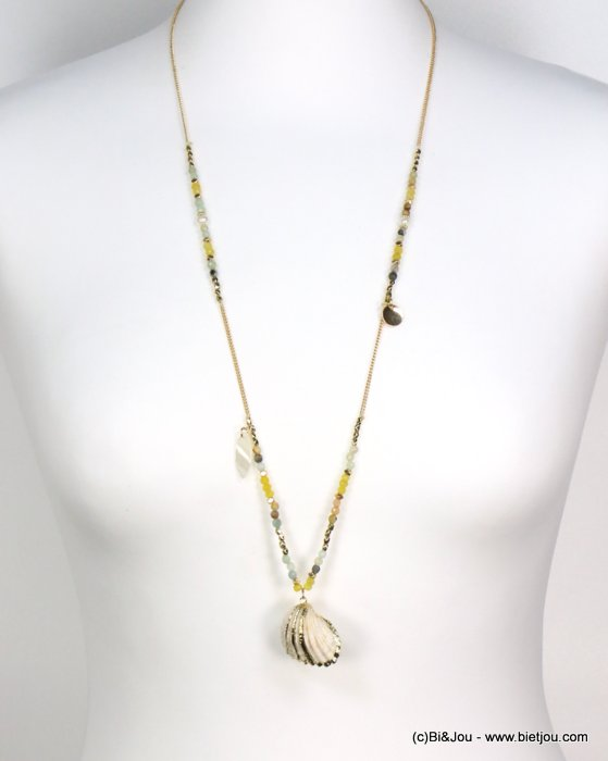 long necklace 0119186-03 shell-metal-crystal-reconstituted stone-pearl