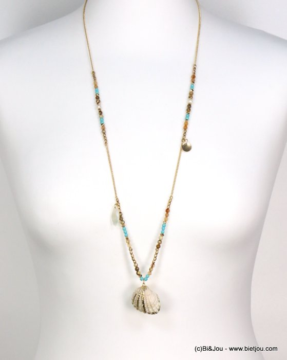 long necklace 0119186-17 shell-metal-crystal-reconstituted stone-pearl