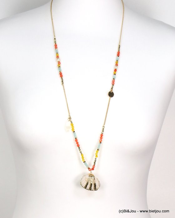 long necklace 0119186-99 shell-metal-crystal-reconstituted stone-pearl