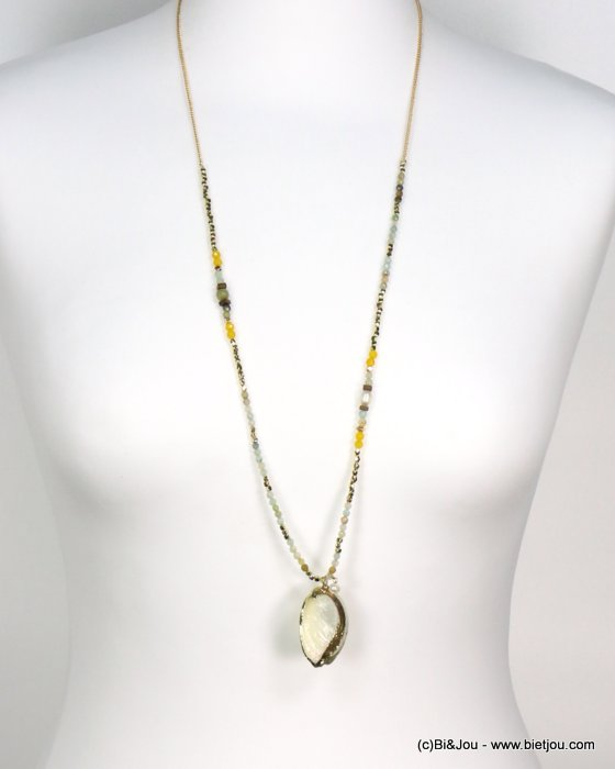 long necklace 0119187-03 shell-metal-crystal-reconstituted stone-pearl