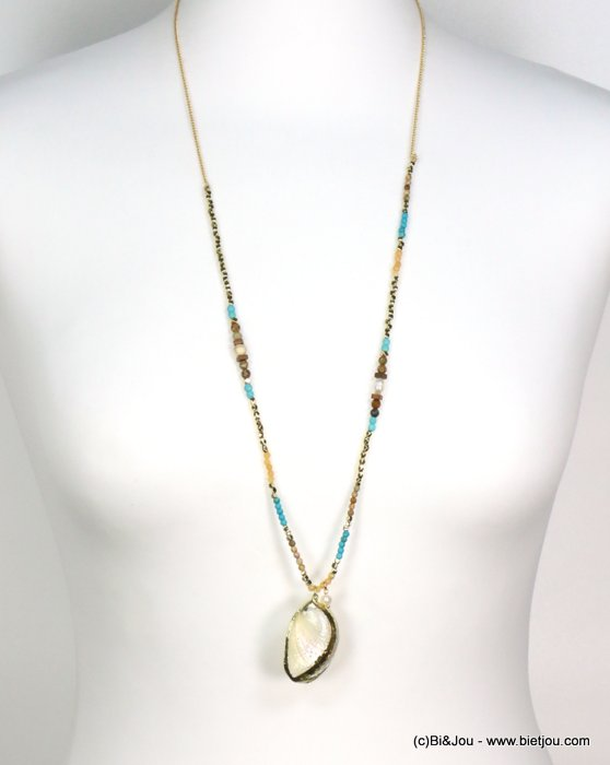 long necklace 0119187-17 shell-metal-crystal-reconstituted stone-pearl