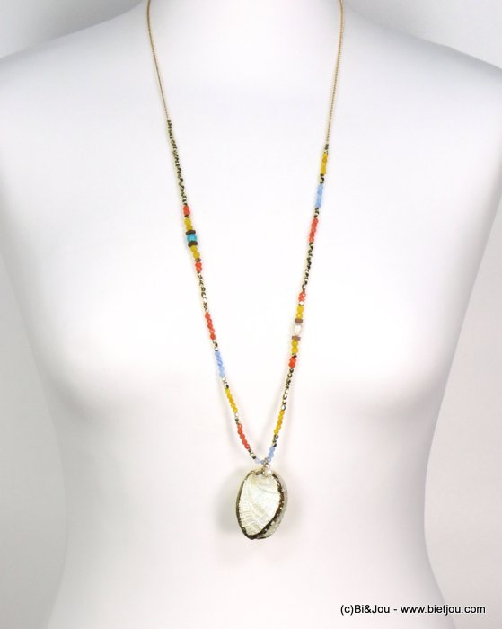 long necklace 0119187-99 shell-metal-crystal-reconstituted stone-pearl