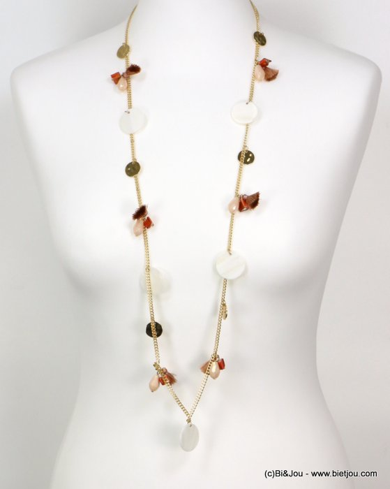 long necklace 0119189-36 tassel polyester-shell-metal-crystal