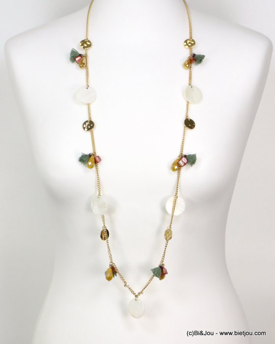 long necklace 0119189-99 tassel polyester-shell-metal-crystal