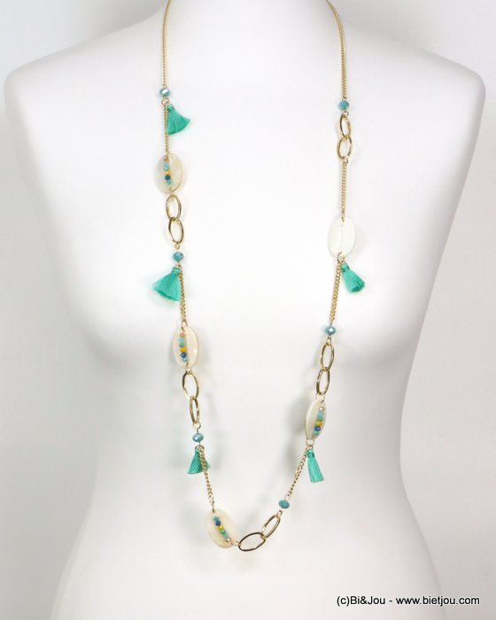 long necklace 0119190-17 tassel polyester-shell-metal-crystal