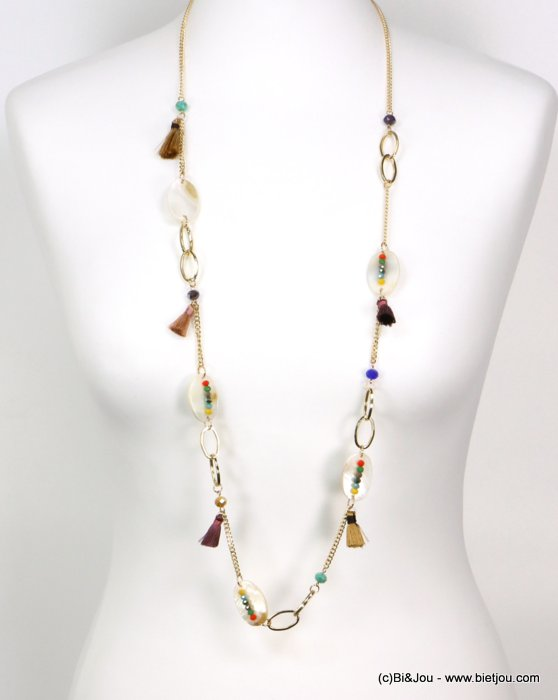 long necklace 0119190-99 tassel polyester-shell-metal-crystal