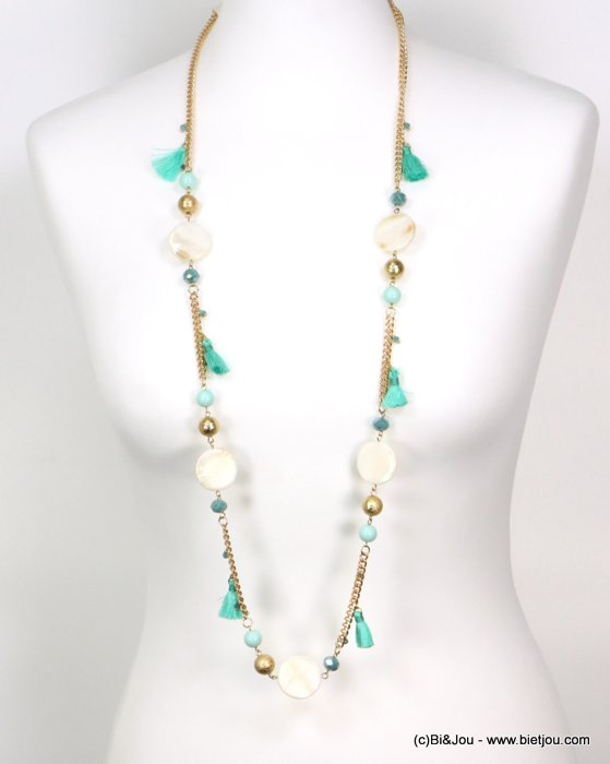 long necklace 0119191-17 tassel polyester-shell-metal-crystal-céramic