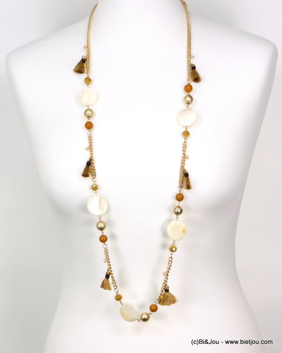 long necklace 0119191-43 tassel polyester-shell-metal-crystal-céramic