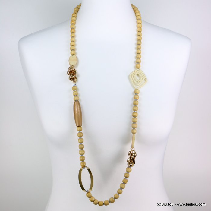 long necklace 0119193-06 woman, wood pearls, faceted pearls, metallics cowrie, openwork metal ring, round leather imitation