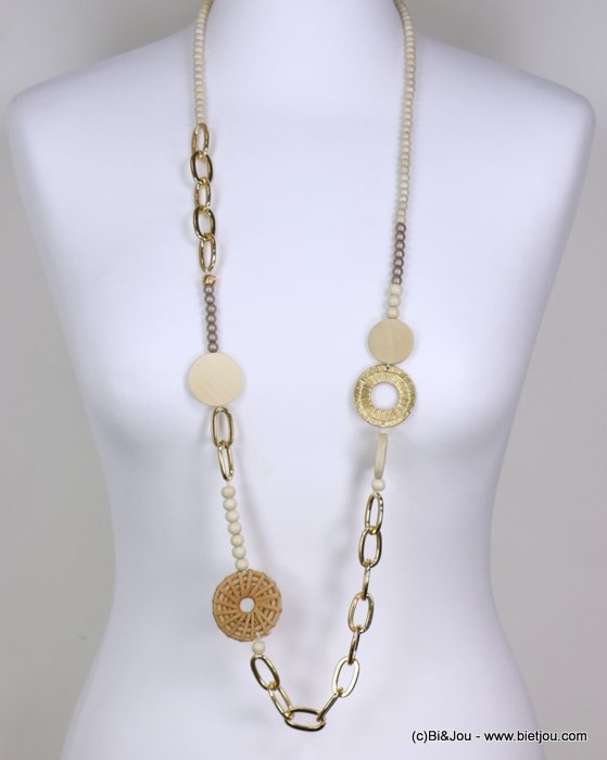 long necklace 0119194-06 woman, log, pearls, circle wood, metallics openwork rings, hammered golden circle
