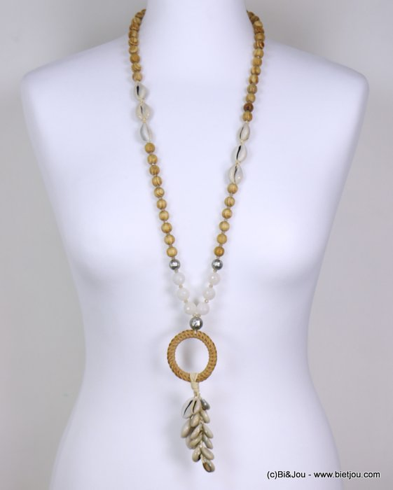 long necklace 0119195-06 woman, wood pearls, faceted pearls, silver hammered pearls, log and cauris pendant