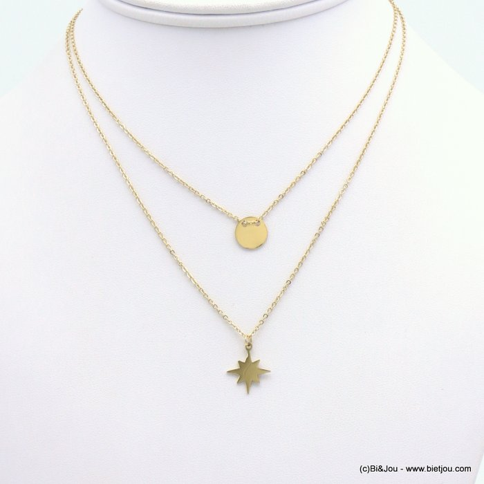 necklace 0119199-14 layering, Pole Star pendant, golden round, slave link chain, stainless steel 13x15mm