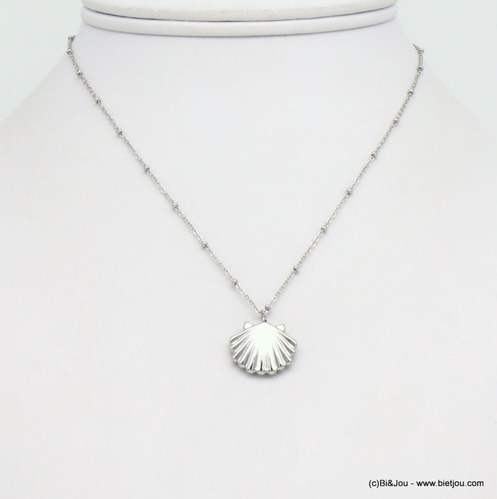 necklace 0119203-13 slave link chain,small pearls, lxH:18x15mm scallop shell pendant, stainless steel