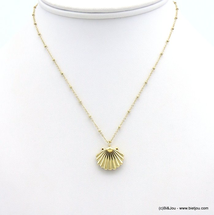 necklace 0119203-14 slave link chain,small pearls, lxH:18x15mm scallop shell pendant, stainless steel