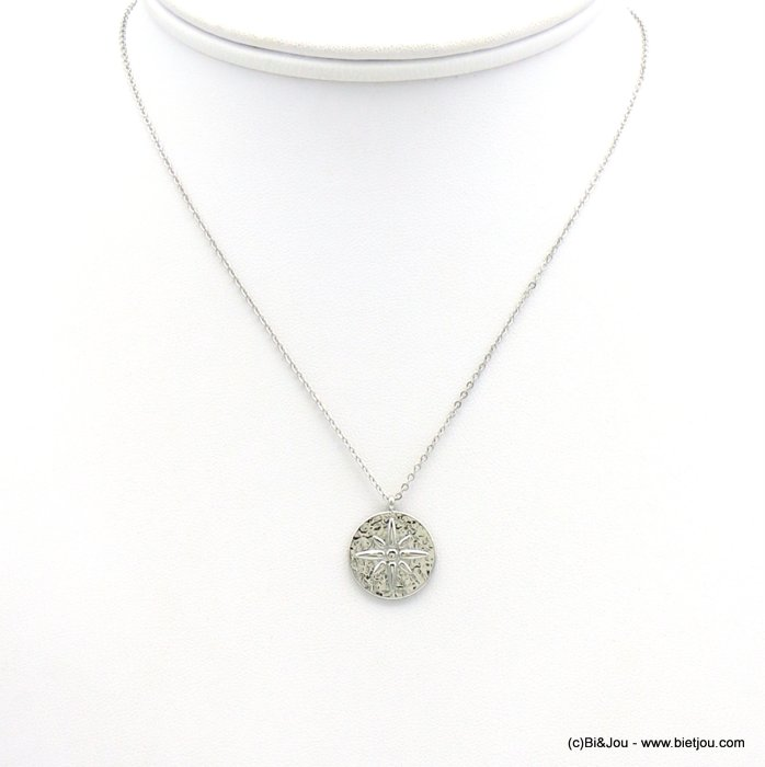 necklace 0119208-13 north star hammered pendant 15mm, slave link chain, stainless steel